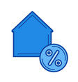 house with percent sign line icon vector image vector image