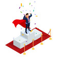 isometric superhero businessman or manager concept vector image vector image