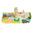 leaning tower of pisa italy sketch for your vector image