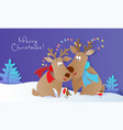 merry christmas design card with deers and birds vector image vector image