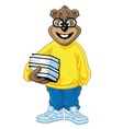 Nerd Bear Holding Books Cartoon vector image vector image