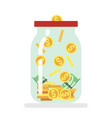 saving money glass jar flat vector image vector image