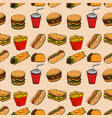 seamless pattern with fast food hamburger hot dog vector image