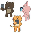 set of animal using smartphone vector image
