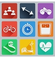 Set of colored square icons on fitness vector image