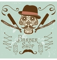 Skull with mustache and hat Retro style hand vector image vector image
