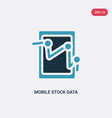two color mobile stock data analysis icon from vector image