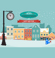 village during winter for christmas greeting card vector image vector image