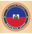Vintage label cards of Haiti flag vector image