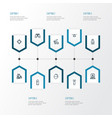 warfare outline icons set collection of target vector image vector image