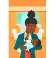 Woman feeding baby vector image vector image