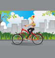 woman riding a bike vector image