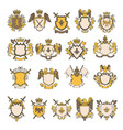 colored pictures set of heraldic elements vector image