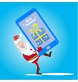santa cell phone gift vector image