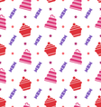 Seamless Texture with Cupcakes Cakes and Candies vector image