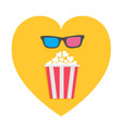 3d glasses and big popcorn heart shape i love vector image vector image