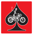 Ace of Spades with Skeleton Biker design vector image vector image
