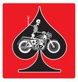 ace spades with skeleton biker design vector image vector image