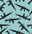 Automatic rifle M16 seamless pattern Arms on blue vector image