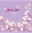 background with magnolia and cherry blossom tree vector image vector image