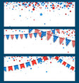 banners with american flags and stars vector image