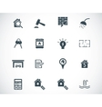 black rea estatel icons set vector image