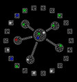 bright mesh network links diagram with flare spots vector image vector image