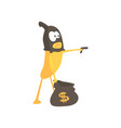 burglar banana in mask holding hand gun and a bag vector image