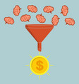 business concept sales funnel converting brains vector image vector image