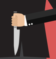 Businessman holding a knife behind his back vector image vector image