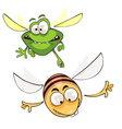 cartoon bee and insects fly vector image