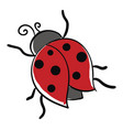 cartoon cute little ladybug over white background vector image vector image