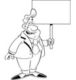cartoon man in a suit holding a sign vector image vector image