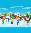 children making snowman in the field vector image vector image