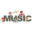 children with music icon vector image