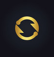 circle arrow infinity gold logo vector image vector image
