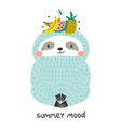 cute funny cloth with fruits on head childish vector image