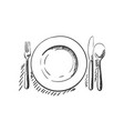 cutlery empty plate with spoon knife and fork vector image vector image