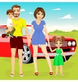 family on vacation trip near their red car vector image