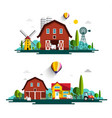 farm with houses - flat design cartoon with barn vector image