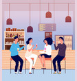 friends in pub men and women drink alcohol shots vector image