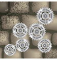 gears on a brick background vector image vector image