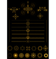 Gold borders and ornaments on black background vector image
