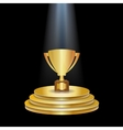 Gold Podium With Trophy Cup vector image