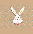 greeting card with with white easter rabbit vector image vector image