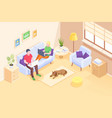 home online work freelancers couple isometric vector image vector image