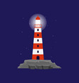 icon striped red and white sea lighthouse or vector image vector image