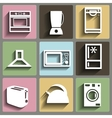 Kitchen and house appliances icons set vector image