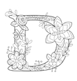 Letter D coloring book for adults vector image vector image