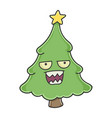 mad angry christmas tree cartoon character vector image vector image